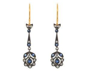 Sapphire & Diamond Fancy Drop Earrings
