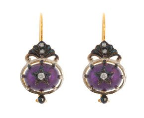 Victorian Inspired Amethyst & Diamond Fancy Drop Earrings