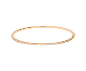 18ct Rose Gold 0.60ct Diamond Hinged Bangle