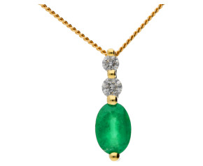 9ct Yellow Gold 0.35ct Emerald & Diamond Pendant