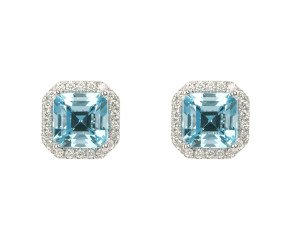 18ct White Gold 3.41ct Aquamarine & 0.33ct Diamond Halo Earrings