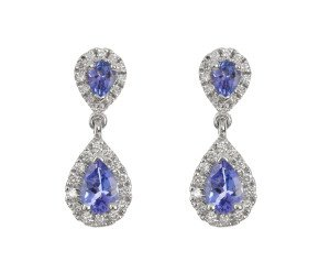 18ct White Gold 0.81ct Tanzanite & 0.32ct Diamond Cluster Drop Earrings