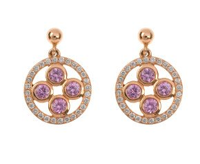 18ct Rose Gold 0.98ct Pink Sapphire & 0.42ct Diamond Circle Drop Earrings