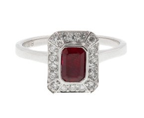 18ct White Gold 0.68ct Ruby & 0.24ct Diamond Halo Ring