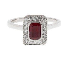 18ct White Gold 0.68ct Ruby & 0.24ct Diamond Halo Ring