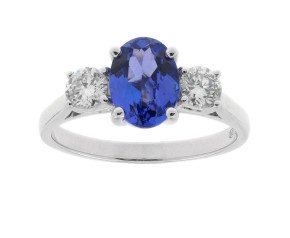 18ct White Gold 1.27ct Tanzanite & 0.40ct Diamond Trilogy Ring