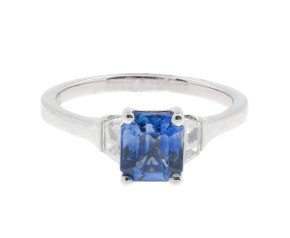 18ct White Gold 1.58ct Tanzanite & 0.33ct Diamond Trilogy Ring