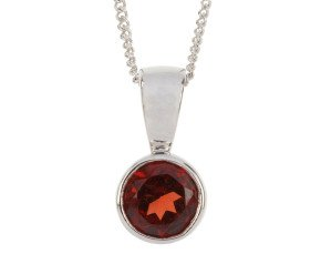 9ct White Gold 0.65ct Round Garnet Rub Over Pendant