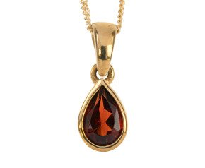 9ct Yellow Gold 0.35ct Pear Garnet Solitaire Rub Over Pendant