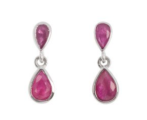 9ct White Gold 1.30ct Ruby Double Drop Earrings
