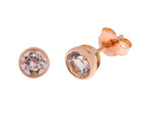 9ct Rose Gold 1.15cts Round Morganite Solitaire Stud Earrings