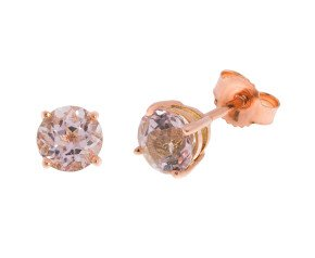 9ct Rose Gold 0.45ct Round Morganite Solitaire Stud Earrings