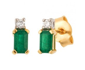 18ct Yellow Gold 0.60ct Emerald & Diamond Earrings