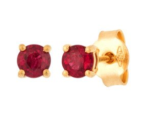 18ct Yellow Gold 4mm Ruby Solitaire Round Shape Stud Earrings