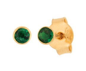 18ct Yellow Gold 0.15ct Round Emerald Solitaire Stud Earrings