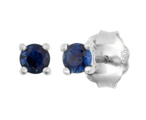 18ct White Gold 0.30ct Round Sapphire Solitaire Stud Earrings