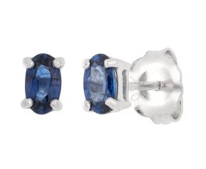 18ct White Gold 0.60ct Oval Sapphire Solitaire Stud Earrings