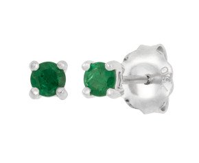 18ct White Gold 0.20ct Round Emerald Solitaire Stud Earrings
