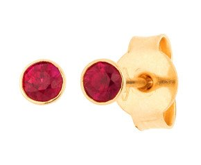 18ct Yellow Gold 3mm Ruby Solitaire Round Shape Stud Earrings
