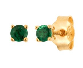 18ct Yellow Gold 0.25ct Round Emerald Solitaire Stud Earrings