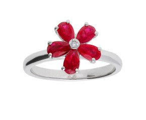 9ct White Gold 1.10ct Ruby & Diamond Flower Cluster Ring