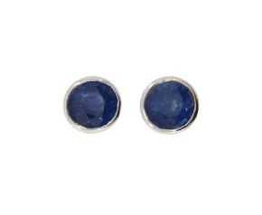 9ct White Gold 5mm Sapphire Solitaire Round Shape Stud Earrings
