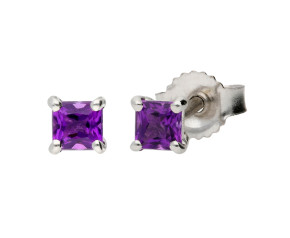9ct White Gold 0.30ct Square Amethyst Solitaire Stud earrings