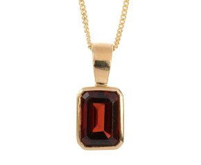 9ct Yellow Gold 0.90ct Rectangular Solitaire Pendant