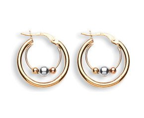 9ct Yellow White & Rose Gold Fancy Hoop Earrings