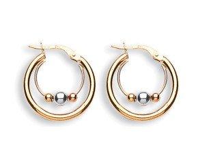 9ct Yellow White & Rose Gold 21mm Fancy Hoop Earrings
