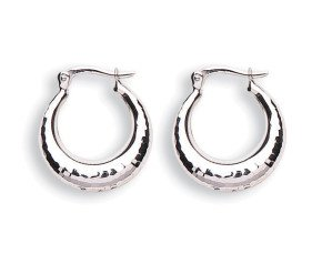9ct White Gold Hoop Earrings