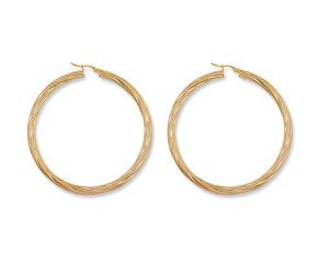 9ct Yellow Gold Large Twisted Hoop Earrings