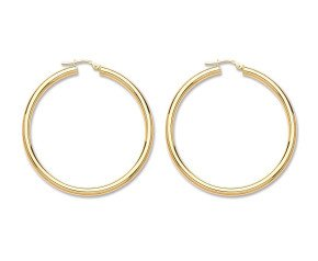 9ct Yellow Gold 55mm Hoop Earrings