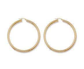 9ct Yellow Gold Large Tube Hoop Earrings