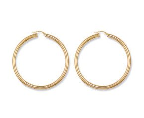 9ct Yellow Gold Tube Hoop Earrings