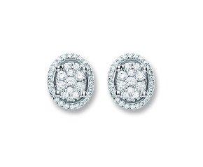 18ct White Gold 0.25ct Diamond Cluster Stud Earrings