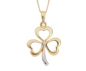 9ct Yellow & White Gold Three Leaf Clover Pendant