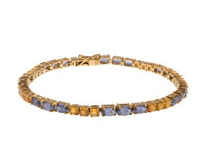 Pre-Owned 9ct Gold Tanzanite & Yellow Sapphire Line Bracelet