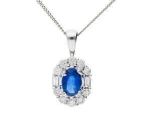 18ct White Gold 0.45ct Sapphire & Diamond Pendant
