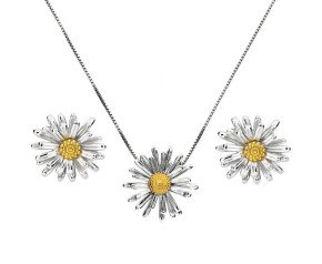 Silver & Yellow Gold Vermeil Michaelmas Daisy Flower Pendant & Earrings Jewellery Set