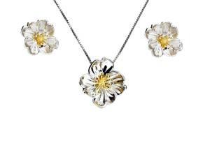 Silver & Yellow Gold Vermeil Primrose Flower Pendant & Earrings Jewellery Set