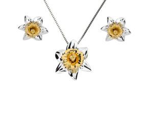 Silver & Yellow Gold Vermeil Daffodil Flower Pendant & Earrings Jewellery Set