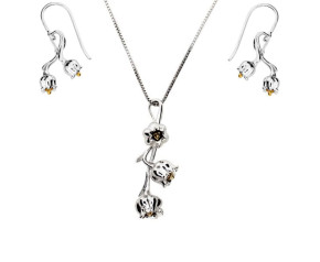 Silver & Yellow Gold Vermeil Lilly Of The Valley Flower Pendant & Earrings Jewellery Set