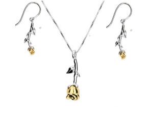 Silver & Yellow Gold Vermeil Rose Flower Pendant & Earrings Jewellery Set