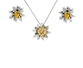 Silver & Yellow Gold Vermeil Waterlilly Flower Pendant & Earrings Jewellery Set