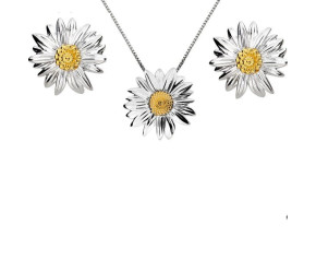 Silver & Yellow Gold Vermeil Marigold Flower Pendant & Earrings Jewellery Set
