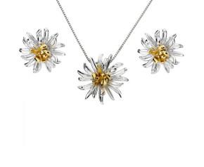 Silver & Yellow Gold Vermeil Chrysanthemum Flower Pendant & Earrings Jewellery Set