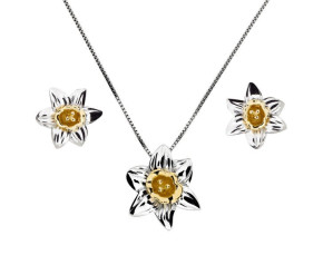 Silver & Yellow Gold Vermeil Narcissus Flower Pendant & Earrings Jewellery Set