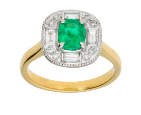 18ct Gold 0.70ct Emerald & 0.30ct Diamond Cluster Ring