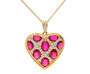 18ct Yellow Gold 2.45ct Ruby & 0.20ct Diamond Heart Pendant